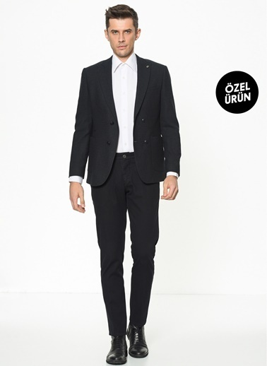 Beymen Business 4B0120100032 Yeşil Slim Fit Pantolon Parça Boya Siyah